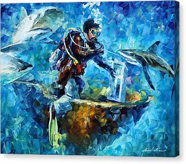 Under Water Canvas Print by Leonid Afremov