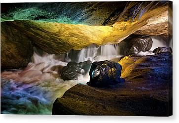 Pool In Cave Canvas Print - Underground Waterfall 2 by Mark Papke