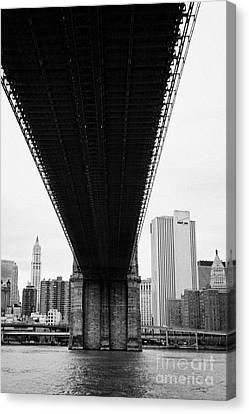 underneath the Brooklyn Bridge new york city Canvas Print by Joe Fox