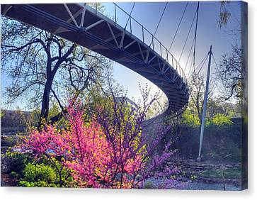 Underneath The Liberty Bridge In Downtown Greenville Sc Canvas Print