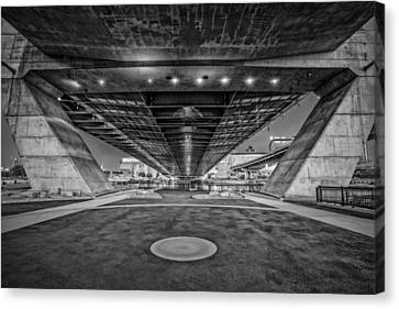 Underneath The Zakim Bridge Bw Canvas Print by Susan Candelario
