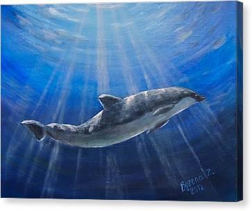 Canvas Print featuring the painting Underwater by Bozena Zajaczkowska