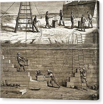 Underwater Construction C.1850 Canvas Print by Sheila Terry
