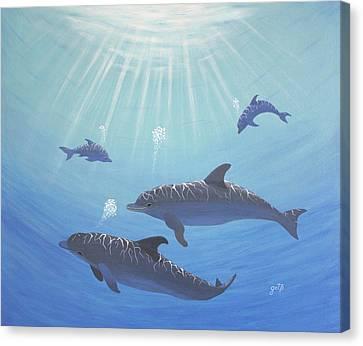 Underwater Dolphins Original Acrylic Painting Canvas Print by Georgeta  Blanaru