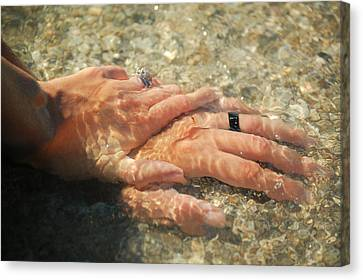 Canvas Print featuring the photograph Underwater Hands by Leticia Latocki