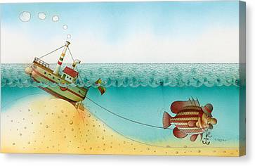 Azure Canvas Print - Underwater Story 02 by Kestutis Kasparavicius