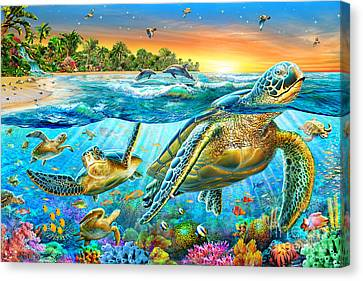 Underwater Turtles Canvas Print