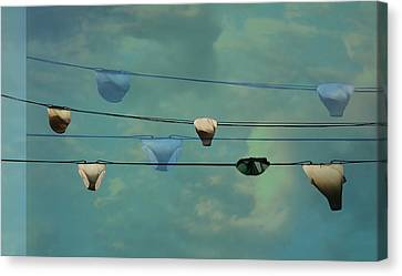 Underwear On A Washing Line  Canvas Print