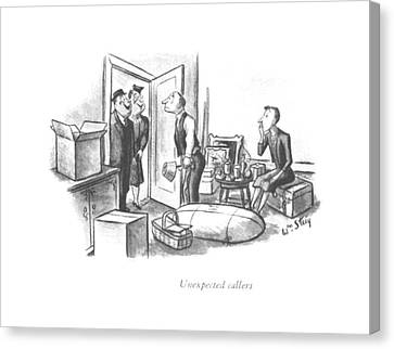 Unexpected Canvas Print - Unexpected Callers by William Steig