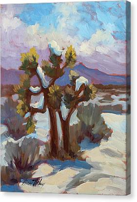 Unexpected Snowfall At Joshua Tree Canvas Print by Diane McClary