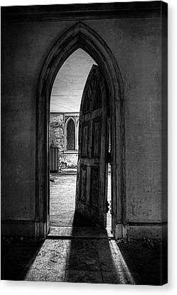 Unhinged - Old Gothic Door In An Abandoned Castle Canvas Print by Gary Heller