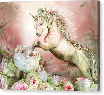 Unicorn And A Rose Canvas Print by Carol Cavalaris