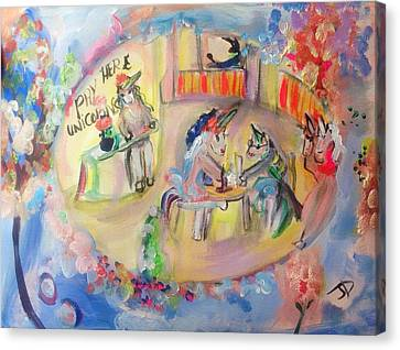 Unicorn Cafe Canvas Print by Judith Desrosiers