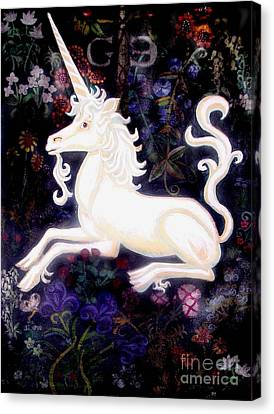 Unicorn Floral Canvas Print