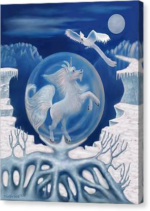 Unicorn In A Bubble Canvas Print by Glenn Holbrook