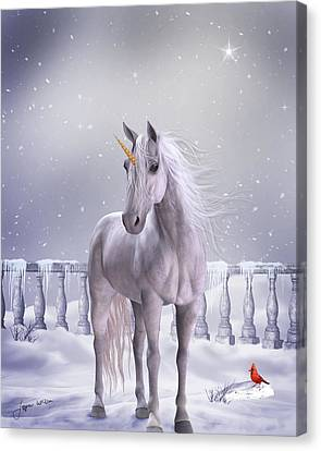 Canvas Print featuring the digital art Unicorn In The Snow by Jayne Wilson
