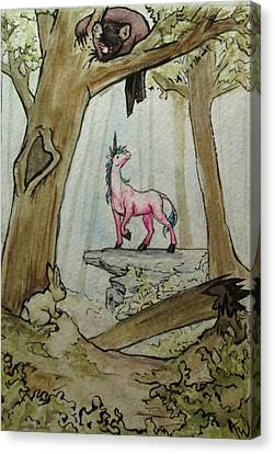 Clearing Canvas Print - Unicorn In The Woods by Andrea Walton