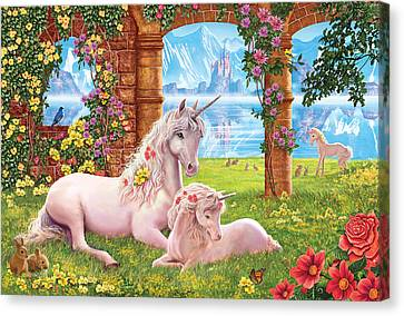 Unicorn Mother And Foal Canvas Print