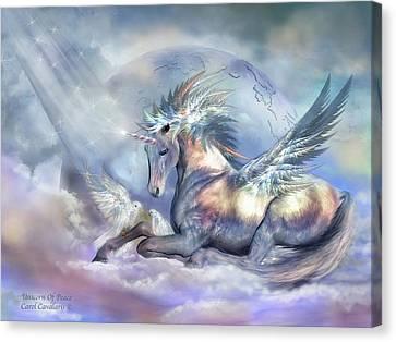 Extinct And Mythical Canvas Print - Unicorn Of Peace by Carol Cavalaris