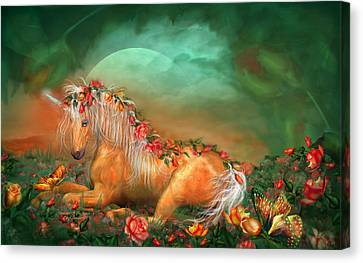 Extinct And Mythical Canvas Print - Unicorn Of The Roses by Carol Cavalaris