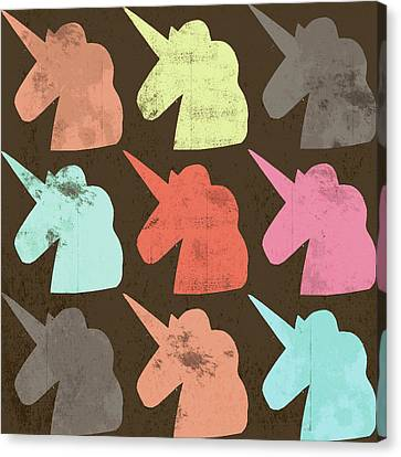 Unicorn Silhouettes I Canvas Print by Lisa Barbero