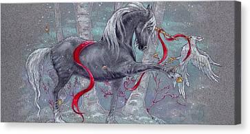 Unicorn Snow Bird Canvas Print