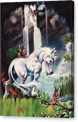 Unicorn Spring Canvas Print by T Ezell