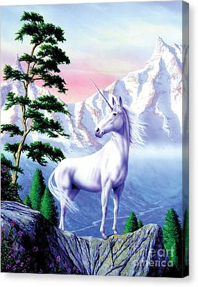 Unicorn The Land That Time Forgot Canvas Print by Garry Walton