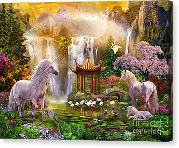 Unicorn Valley Of The Waterfalls Canvas Print