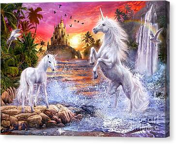 Unicorn Waterfall Sunset Canvas Print