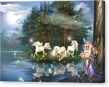 Unicorn Wizard Pool Canvas Print by Zorina Baldescu