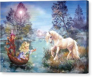 Unicorns Lake Canvas Print by Zorina Baldescu