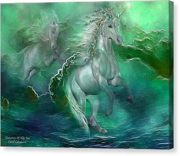 Extinct And Mythical Canvas Print - Unicorns Of The Sea by Carol Cavalaris