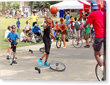 Unicyclist - Basketball - Street Rules  Canvas Print by Mike Savad