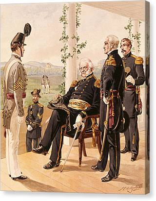 Uniforms Of The American Army, 1858-61, Published By G.h. Buek And Company, 1885 Colour Litho Canvas Print by Henry Alexander Ogden