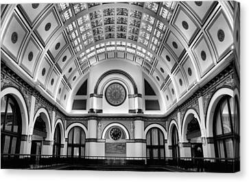 Union Station Lobby Black And White Canvas Print