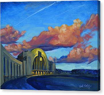 Union Terminal Building Sunset Canvas Print by Erik Schutzman