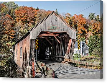 Union Village Covered Bridge Thetford Vermont Canvas Print by Edward Fielding