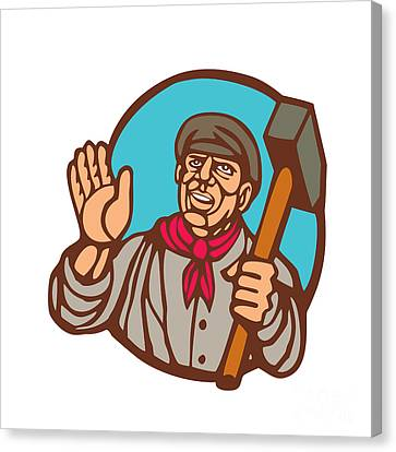 Union Worker With Sledgehammer Linocut Canvas Print by Aloysius Patrimonio