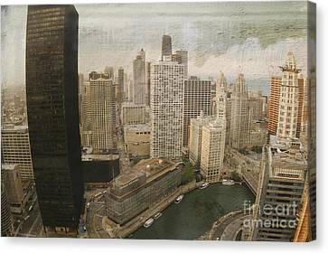 Vintage Unique Downtown Chicago View Digital Art Canvas Print by Linda Matlow