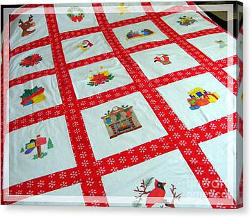 Twin Size Quilts Canvas Print - Unique Quilt With Christmas Season Images by Barbara Griffin