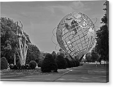 Unisphere In Corona Park Canvas Print by Mike Martin