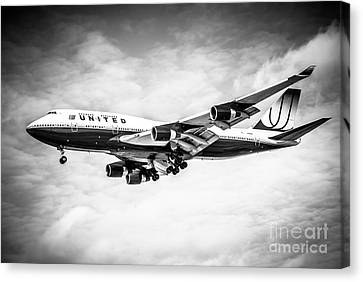 United Airlines Boeing 747 Airplane Black And White Canvas Print by Paul Velgos