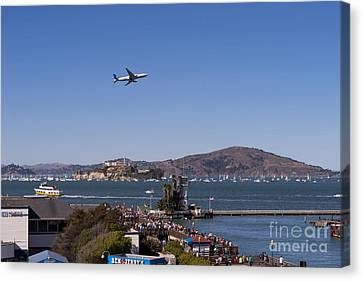 Alcatraz Canvas Print - United Airlines Jet Over San Francisco Alcatraz Island Dsc1765 by Wingsdomain Art and Photography