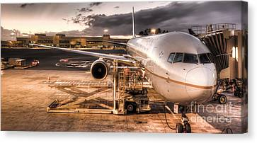 United Airlines Jet Ready For Departure Canvas Print by Dustin K Ryan
