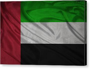 United Arab Emirates Flag Waving On Canvas Canvas Print by Eti Reid