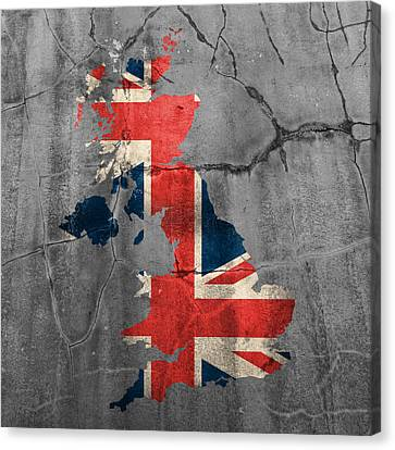 United Kingdom Uk Union Jack Flag Country Outline Painted On Old Cracked Cement Canvas Print by Design Turnpike