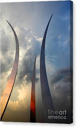 United States Air Force Memorial At Sunset Canvas Print by James Brunker