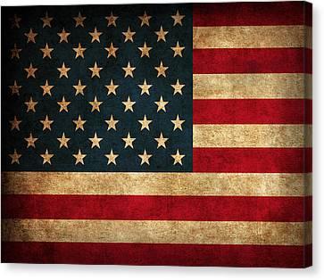 United States American Usa Flag Vintage Distressed Finish On Worn Canvas Canvas Print