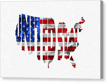 United States Typographic Map Flag Canvas Print by Ayse Deniz